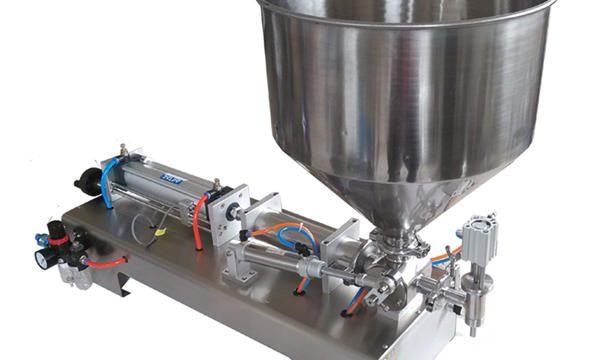 Máquina de enchimento de mel de vidro com pistão semi-automático